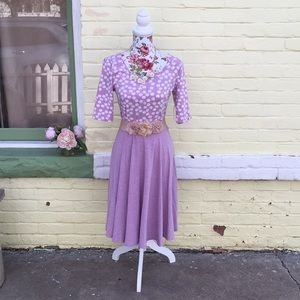 NWT Lularoe Nicole Purple Polka Dots Dress